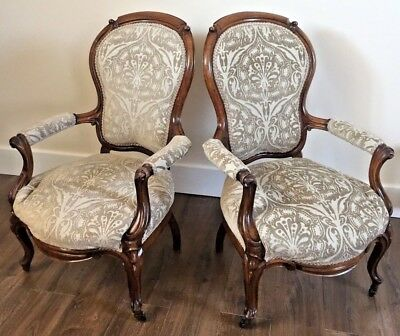 *clearance* Low £££ Antique Pair Of Victorian Carved Walnut Armchairs