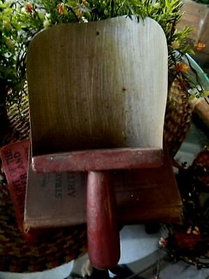 Vintage Antique Repro Country Primitive Rusty Tin Grain Scoop Red Wood Handle