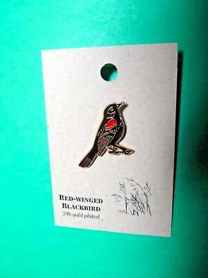 NATURES CHARMS RED-WINGED BLACKBIRD 24k GOLD PLATED LAPEL HAT PIN (17)