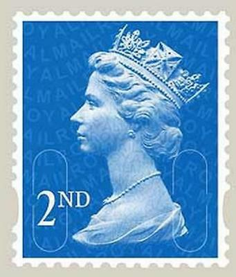 100 Unfranked Off Paper Second 2nd Class Blue Stamps de2