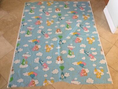 Vtg 1984 Care Bears Cotton Quilting Fabric Baby Crib Quilt 1.5 yd