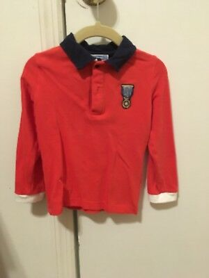 Jacadi Toddler Boys Red Long Sleeve Polo Size 3