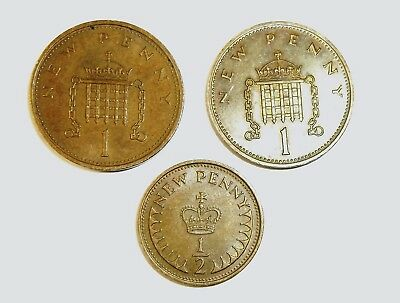 1971 1 penny ,1971 1/2 penny British 3 coins EF