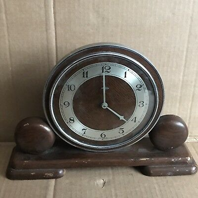 Vintage Metamec Electric Art Deco Wooden Mantle Clock