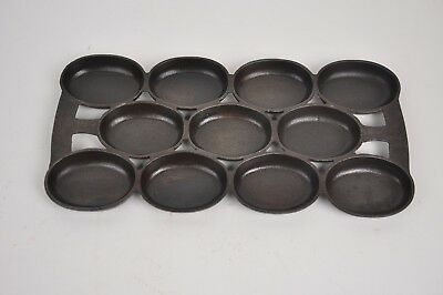 Vintage CAST IRON French Stamped 11 hole baking GEM Biscuit Corn Bread Pan #8