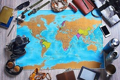 World Map US States Travel Accessories Tracker Scratch Off Countries Mountains