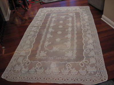"""White Lace Tablecloth 62"""" X 104"""" Floral Design ROSES NWOT"""