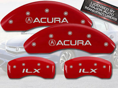 """2013-2015 """"Acura ILX"""" Front + Rear Red MGP Brake Disc Caliper Covers 4pc Set"""