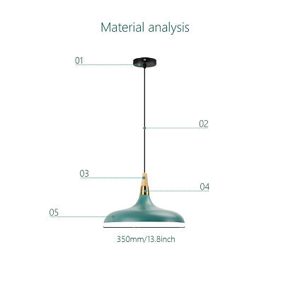 1x Green Modern Simple Pendant Light Creative Fashion Fixture Wood Hanging Lamp