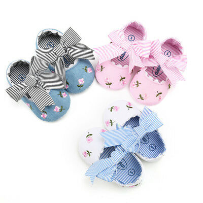 UK Baby Girls Embroidery Flower Toddler Soft First Walkers Kid Infant Shoes YU