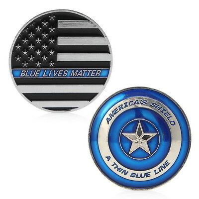 Commemorative Coin Police Blue Line America Thin Lives Matter Collection O9C4Q