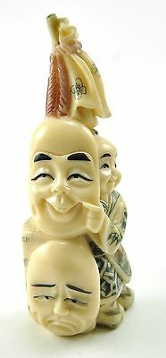 Vintage Chinese Japanese Mini Playful Boy Comedy Mask Resin Hand carve Figurine