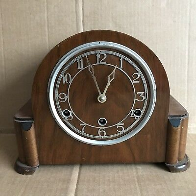 Vintage Anvil Chiming Deco Mantle Clock with Perivale Movement + Pendulum Bob