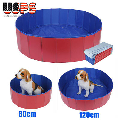 Foldable Pet Pool Bathing Swimming Cooling Cat Dog Puppy Bathtub Home Outdoor