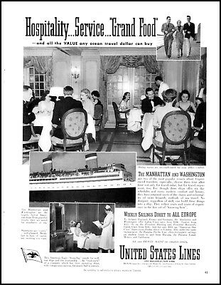 1938 United States Lines cruise ships dining room vintage photo Print Ad  ADL17