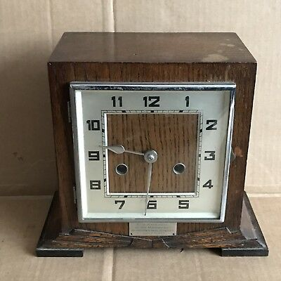 Vintage Deco Oak Mantle Clock with Engraved P.O. Plaque c.1935 - Haller Movement