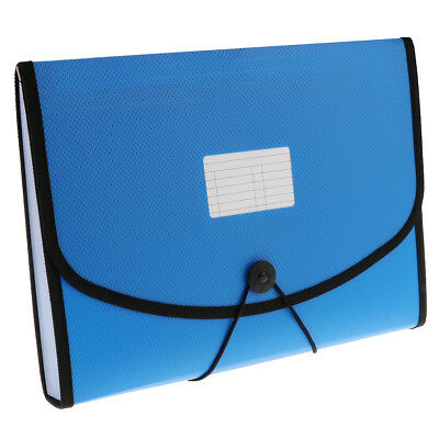 13 Pocket Expandable Document File Accordion Folder Letter Organizer Blue