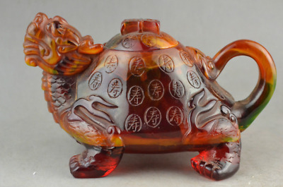 A rare collection of amber carving dragon turtle adornment can use the teapot