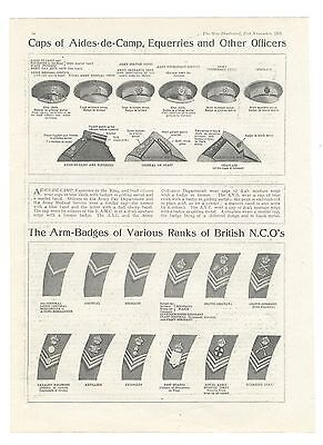 1915 WW1 Print ARMY Caps ARM BADGES Aides de Camp EQUERRIES Officers NCO'S (lv)
