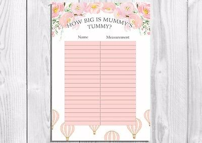 How big is Mummys Tummy? Baby Shower Game, Hot Air Balloon, Vintage Floral, Girl