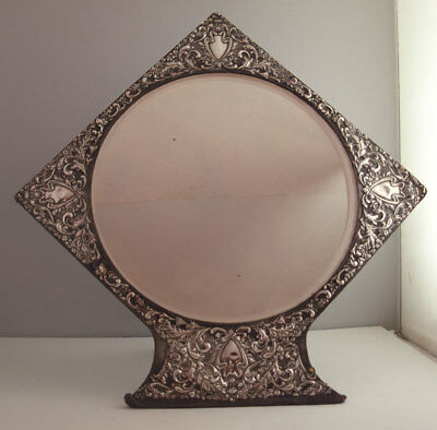 Unusual Large Solid Silver Dressing Table Mirror - 15 Inches - Birm. 1902