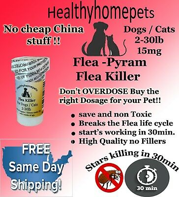 100 CAPSULES RAPID Flea Killer Capsules Dogs Cats 2-30 Lb 15Mg SAME DAY SHIPPING
