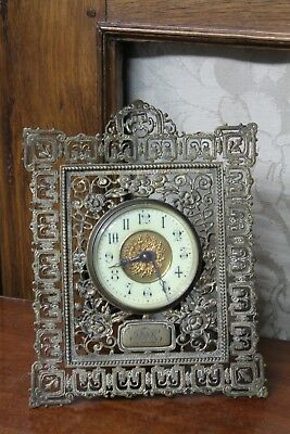 Antique Filigree Brass Clock Easel Stand G F Maker 19th Century French Style