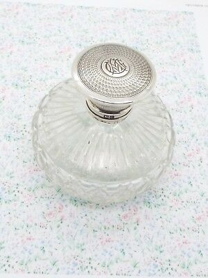 Antique Hallmarked Sterling Silver Topped Cut Glass Perfume Bottle c1903