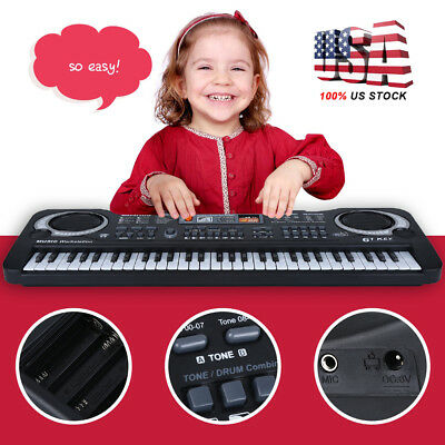 New Digital Music Electronic Keyboard Electric Piano Organ Instrument 61 Keys US