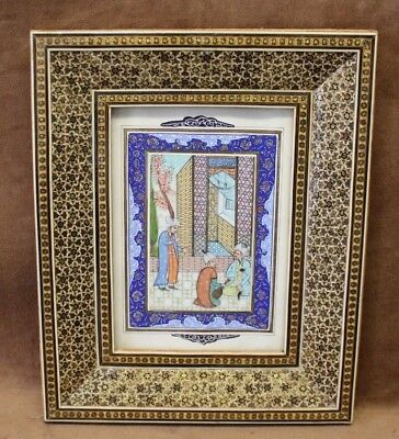 "Estate Found Persian Miniature Painting "" Drinking Wine "" in Khatam Frame"
