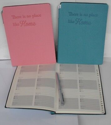 A5 Address Book with Pen - Pink or Blue - 'There is no place like home'