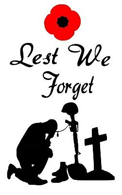 Lest We Forget Wine Bottle Decal / Sticker (bottle not included)