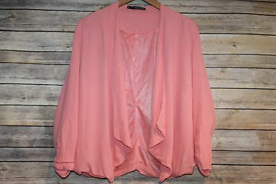Maurices Open Shrug Crop Drape Cardigan Lined Coral Womens Plus Size 2 2X HW2457