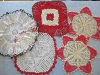 Lot of 5 Beautiful Vintage Hand-Crocheted Doilys Doilies