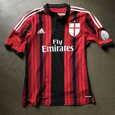 bfdf3bf87 Men s 2015 Adidas ClimaCool AC Milan Black Red Striped Home Jersey Kit Sz  Small