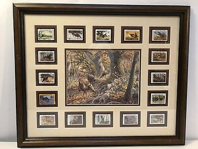 National Wild Turkey Federation 16 Stamps 1976-1990 And Herb Booth Signed Print