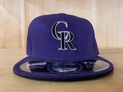 best service df7a1 4839f New Era Colorado Rockies Fitted Hat Cap 59Fifty Purple Black Size 7-8