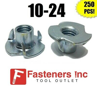"(Qty 250) 3 Prong T-Nut 10-24 x 5/16"" (Tee Nut) Zinc Plated"