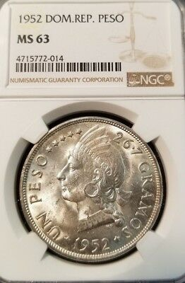 1952 Dominican Republic Silver Un Peso Ngc Ms 63 High Grade Beautiful Coin