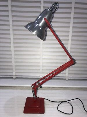 Herbert Terry Anglepoise Lamp 1227 Completely Refurbished Red & Chrome
