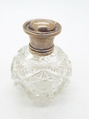 Antique Hallmarked Sterling Silver Top Cut Glass Perfume Bottle 1923