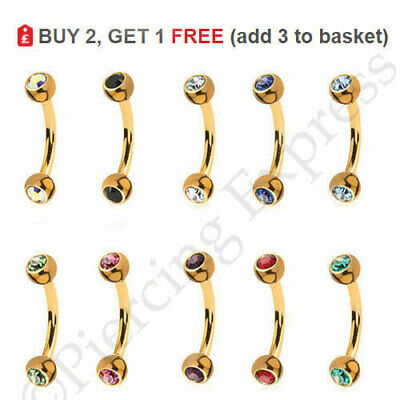 GOLD Curved Eyebrow Bar Piercing Barbell Anodized 16G Steel Colour Ball CRYSTAL