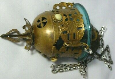 Antiques Censer Lampadka Icon Lamp Imperial Russia 1905 Orthodox Church Brass