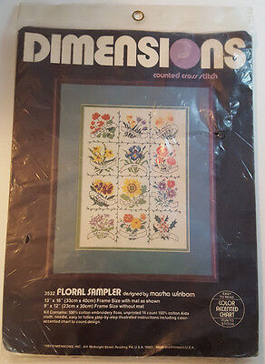 DIMENSIONS Floral Sampler Counted Cross Stitch Kit 3532 Flowers SEALED Vintage