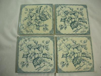 4 Antique Sage Green and White Transferware Tiles by - England