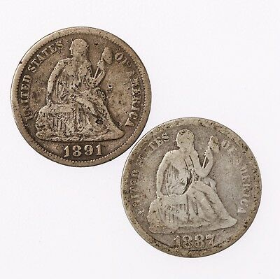 2 Pack 1887 & 1891 Seated Liberty 10C Circulated Silver Dime Coin Lot