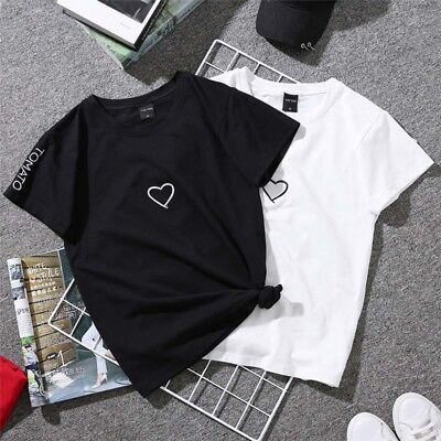 Short Sleeve Couple TShirt Simple Design Heart Printed Tees Summer Tops Blous Ez