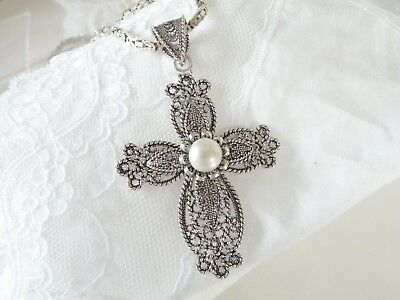"HUGE Sterling Silver 925 Pearl Filigree Cross Pendant Byzantine 20"" Necklace"