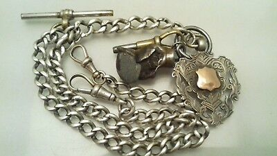 Antique  Silver Graduated Double Albert Fob Watch Chain + Medal 1909