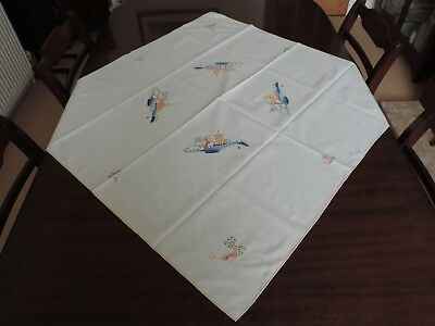 Japanese Embroidered Oriental Applique Pagoda Chinese Square Tablecloth Ref43